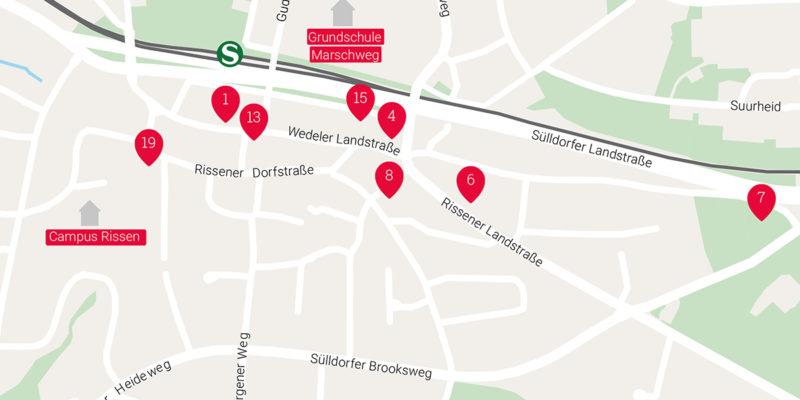 Auf Einem Stadtteilplan Sind Die Standorte Der Unterschiedlichen Initiativen, Vereine Und Einrichtungen In Rissen Verzeichnet.